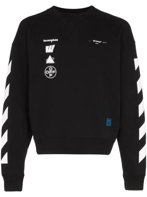 Off-white Logo And Painting-print Cotton-jersey Sweatshirt In Black