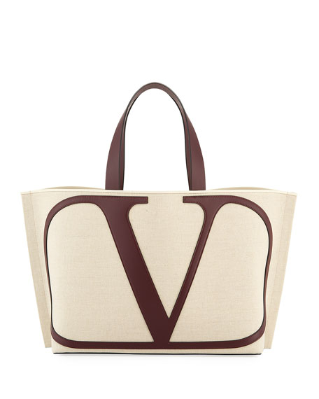 Valentino 'vlogo Beach' Leather Trim Large Canvas Tote In Natural