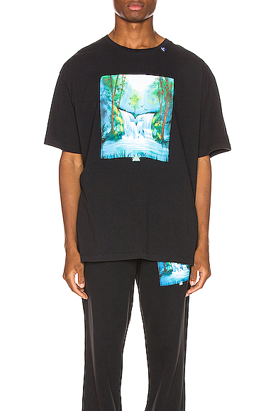 Off-White T-Shirt Waterfall Oversize In Cotone Con Stampa In Black Multi