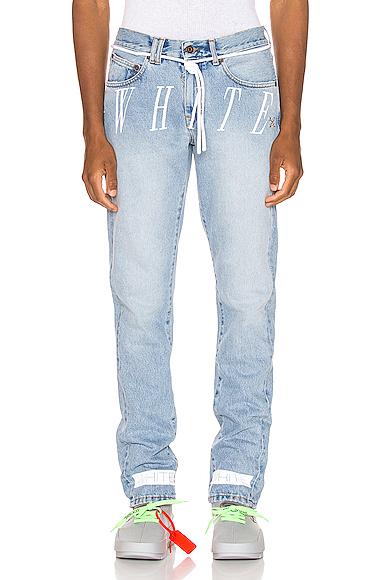 Off-White Slim-Fit Drawstring Logo Bleach Jeans In 7128 Bleach