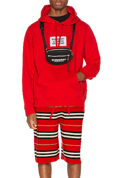 Burberry Printed Cotton Jersey Sweatshirt Hoodie In Bright Red