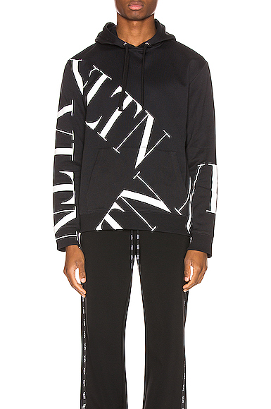 Valentino Black And White Cotton Vltn Sweatshirt With Hood In Black & White