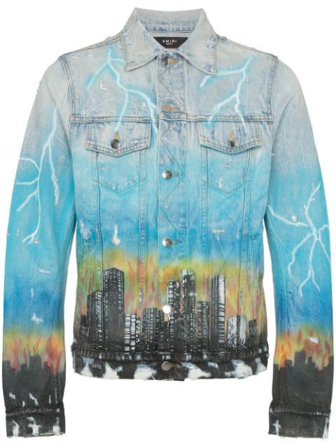 Amiri 'city Dragon' Graphic Print Denim Trucker Jacket In Blue