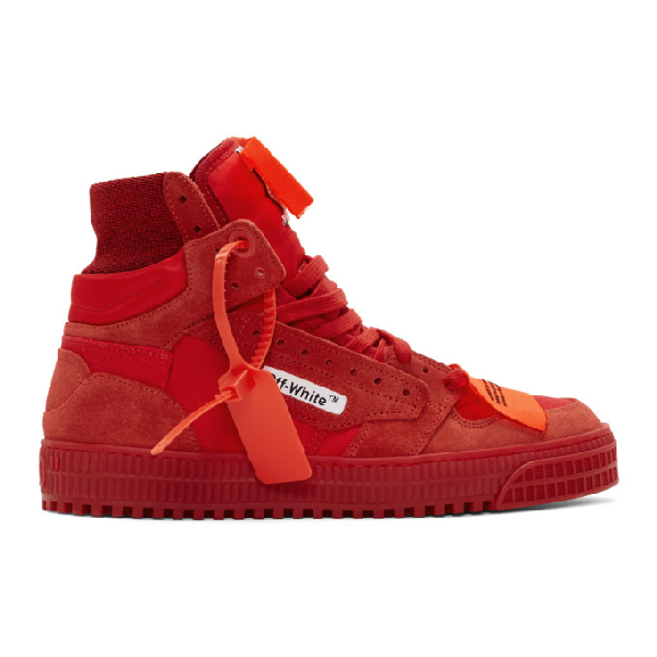"Off-White ""Off-Court"" 3.0 Red Canvas Hi-Top Sneakers In 2000 Rednoc"