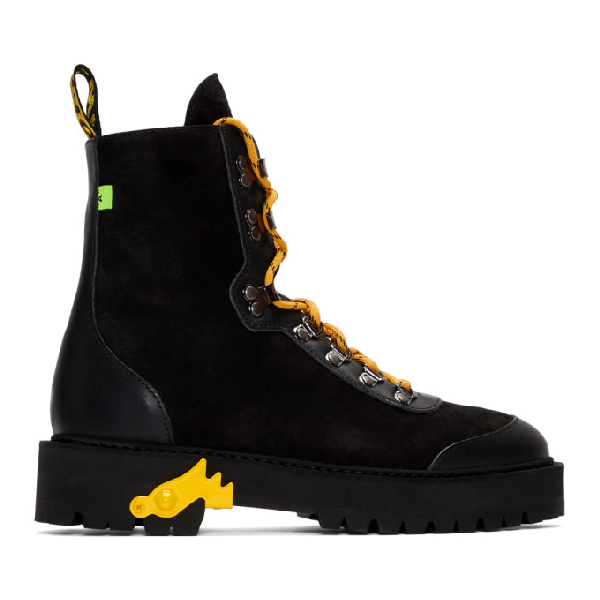 "Off-white Black ""hiking"" Boots With Yellow Details In 1000 Blknoc"