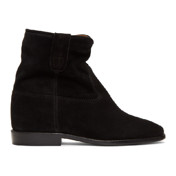 Isabel Marant Crisi Low Heels Ankle Boots In Black Suede In 02fk Faded Black