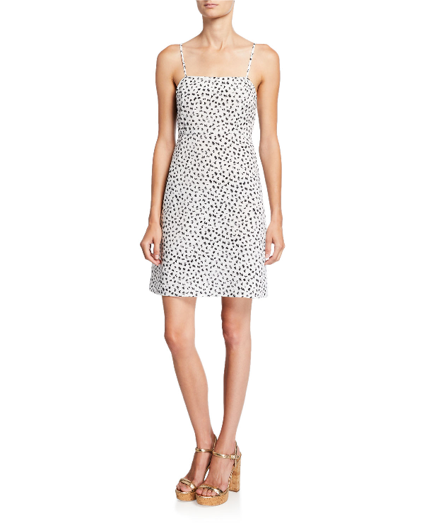 Ash Rain+oak Addilyn Square-neck Mini Cami Dress In White