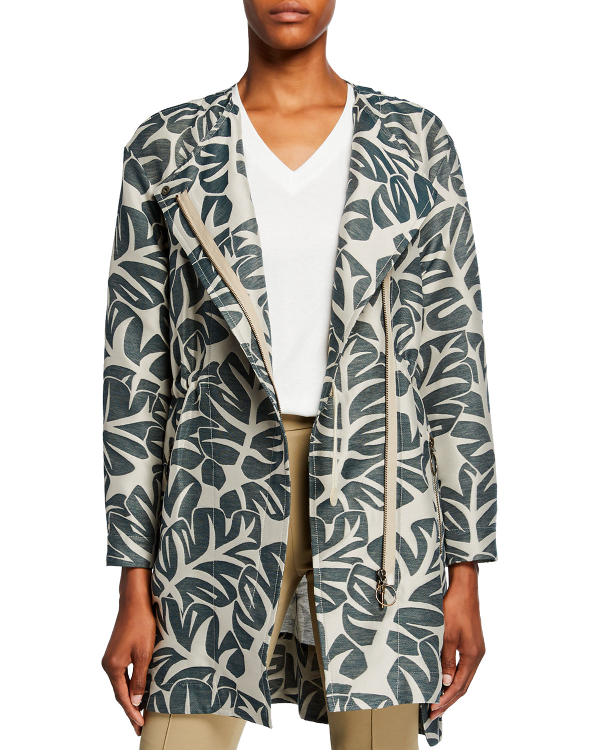 Akris Punto Tropical-leaf Jacquard Hidden Zip Coat In Multi