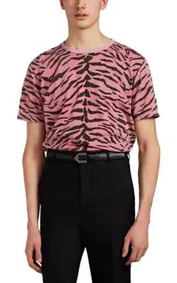 Saint Laurent Tiger-Print Cotton Crewneck T-Shirt In Pink