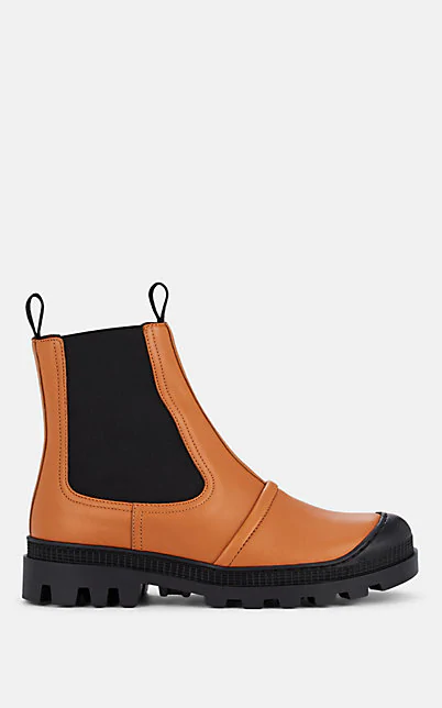 Loewe Rubber-Trimmed Leather Chelsea Boots In Beige