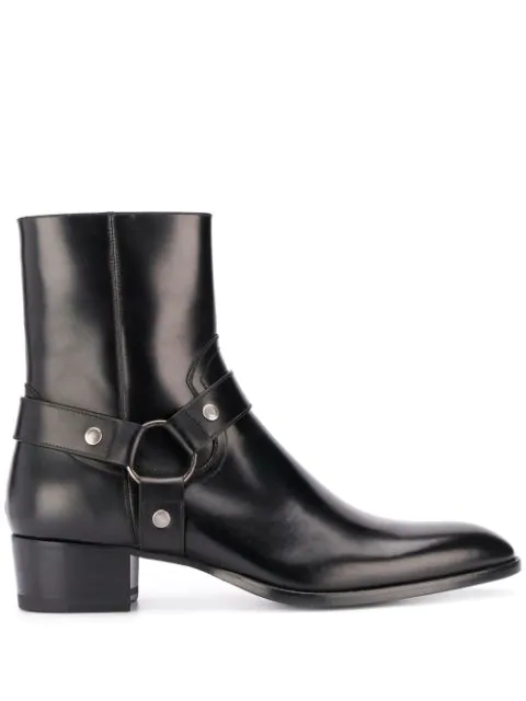 Saint Laurent Wyatt Harness Boots In Stone-washed Leather In 1000 Black