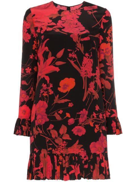 Valentino Ruffled Floral-print Silk Crepe De Chine Midi Dress In Black