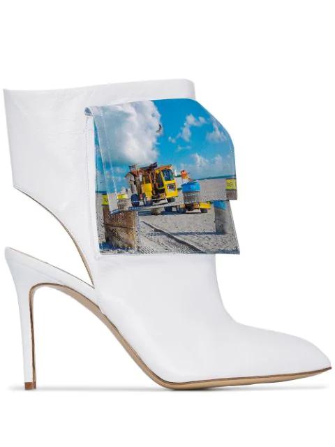 Natasha Zinko Beach Trash Logo Ankle Boots In White