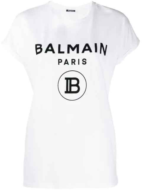 Balmain Flocked New Logo Cotton Jersey T-shirt In Eab Black