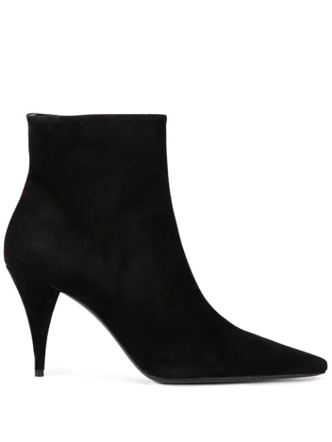 Saint Laurent Ankle Boots Black Kiki 85 Zip Bootie