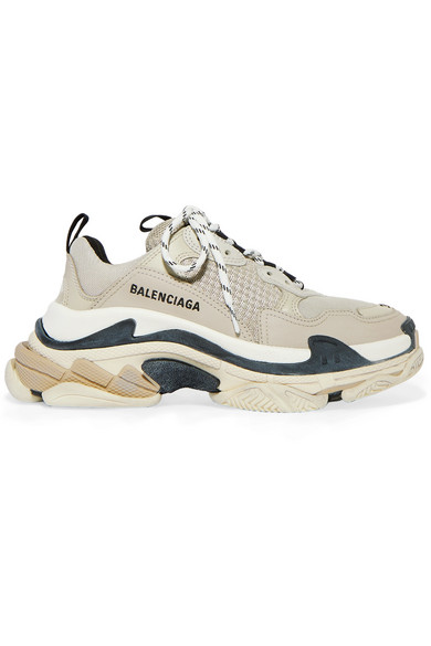 Balenciaga Triple S Logo-embroidered Leather, Nubuck And Mesh Sneakers In Beige
