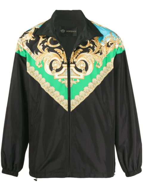 Versace Green & Blue Barocco Track Jacket In Black