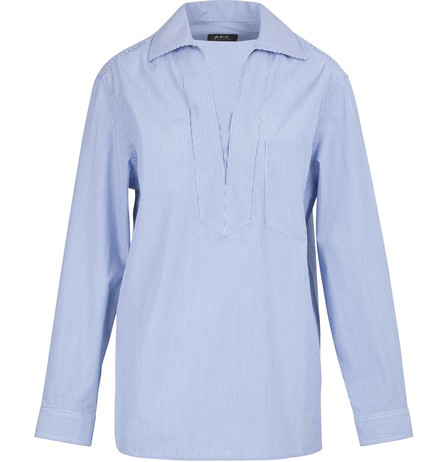 A.p.c. Roma Striped Cotton Tunic-shirt In Blue