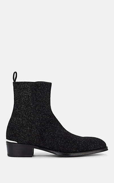 Alexander Mcqueen 40Mm Glittered Leather Cuban Boots In Black