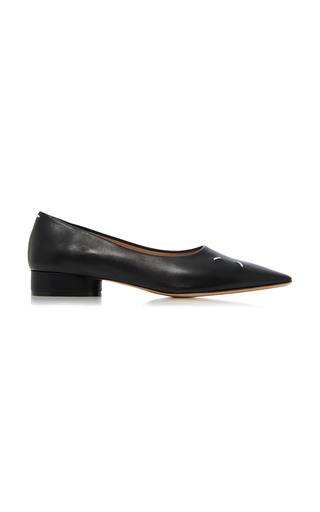 Maison Margiela 'step' Pointed Toe Contrast Stitch Leather Mules In Black