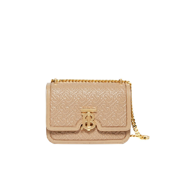 Burberry Small Quilted Monogram Lambskin Tb Bag In Neutrals