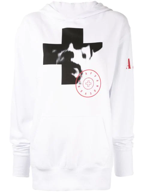 A.F.Vandevorst Photographic Print Hoodie In White