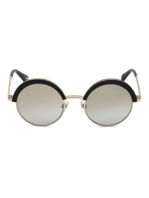 Web Eyewear 51mm Black & Mirrored Lens Round Sunglasses