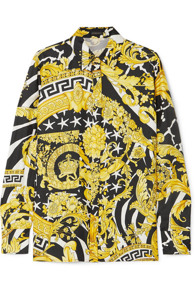 Versace Savage Barocco Print Detailed Silk Shirt In Yellow
