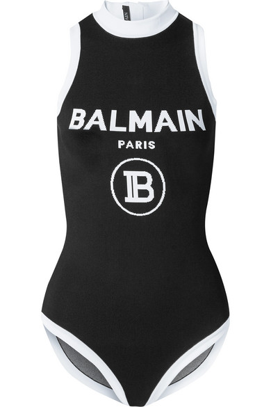 Balmain Black Women's High Neck Logo Bodysuit