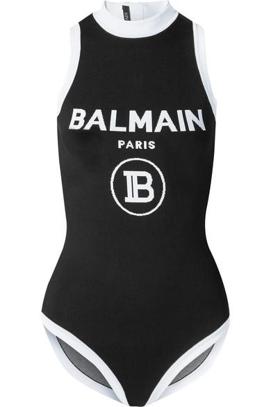 Balmain Black Women's High Neck Logo Bodysuit In Eab Blk/wht