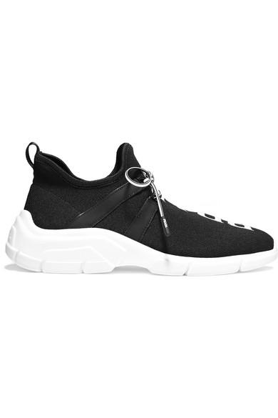 Prada Logo-jacquard Stretch-knit Sneakers In Black