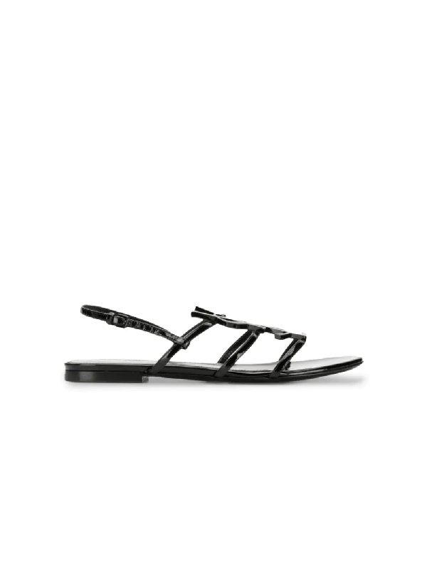 Saint Laurent Cassandra Nu Pieds Flat Sandal 05 Mm In Patent Lather With Tone On Tone Ysl In Black