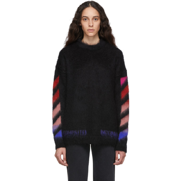Off-White Diagonal Arrow Brushed Sweater In Black In 1088 Black Multicolor