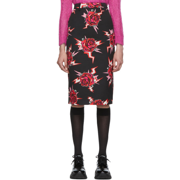 Prada Electric Roses-print Cotton Pencil Skirt In Black