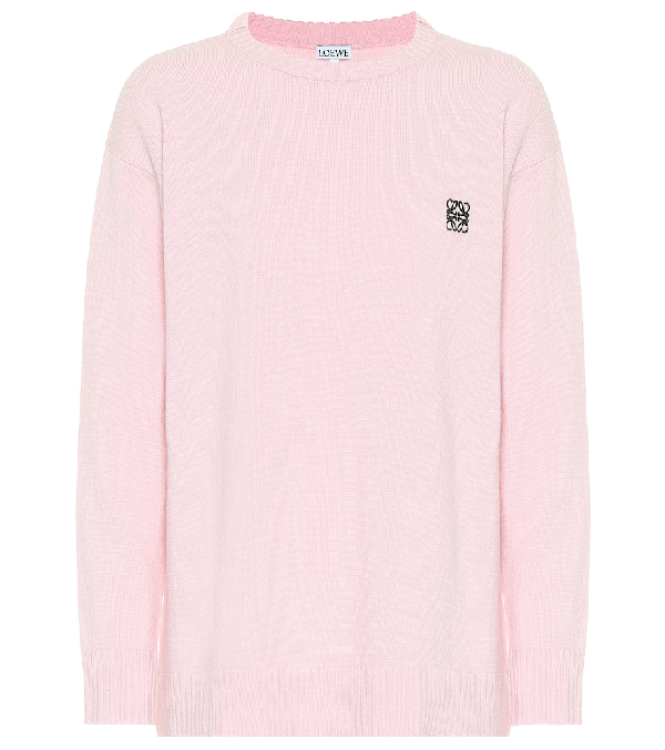 Loewe Anagram-Embroidered Round-Neck Wool Jumper In Pink