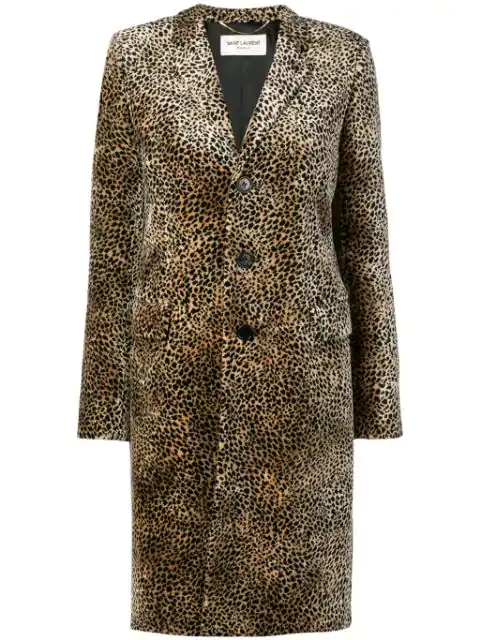 "Saint Laurent ""chesterfield"" Coat With Mini Leopard Print In Beige"