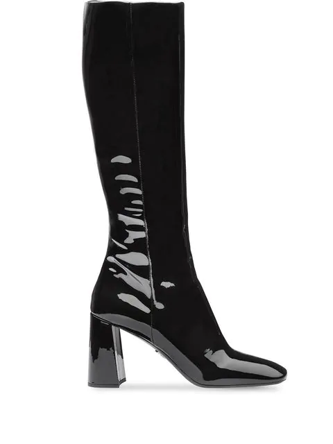 Prada Square-toe Knee-high Patent-leather Boots In Black