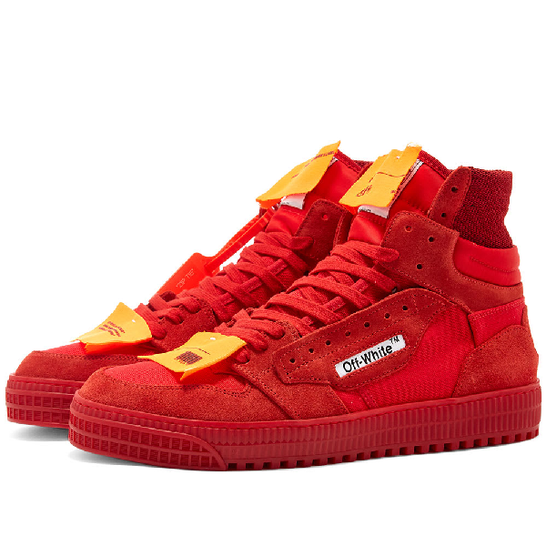 "Off-White ""Off-Court"" 3.0 Red Canvas Hi-Top Sneakers In 2000 Red No Color"