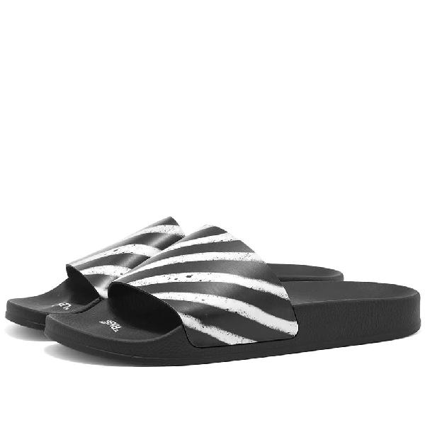 Off-White Diagonal-Striped Rubber Slide Sandals In Black