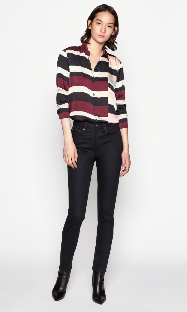Equipment Essential Block-Stripe Button-Down Shirt In True Black Multi