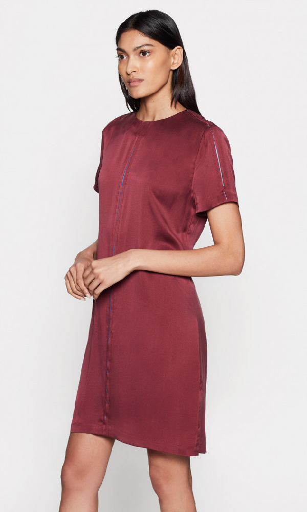Equipment Noemy Short-Sleeve Mini Shift Dress In Tawny Port