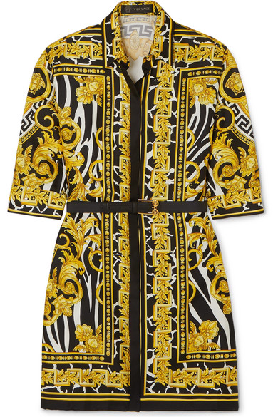 Versace Savage Barocco Print Silk Shirt Dress In Yellow
