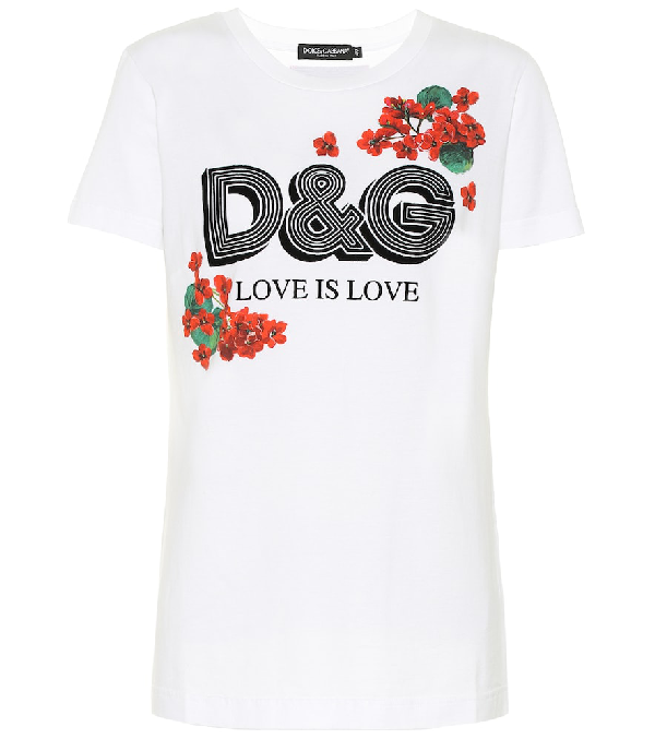 Dolce & Gabbana Floral Print And Flock Logo T-Shirt In Optical White