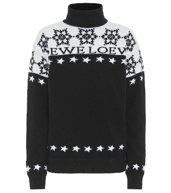 Loewe Black & White Women's Snowflake Logo Intarsia Jumper