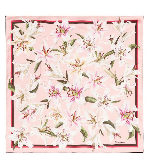 Dolce & Gabbana Lilium Print Cashmere Blend Scarf In Hfkk8 Gigli Fdo.Rosa
