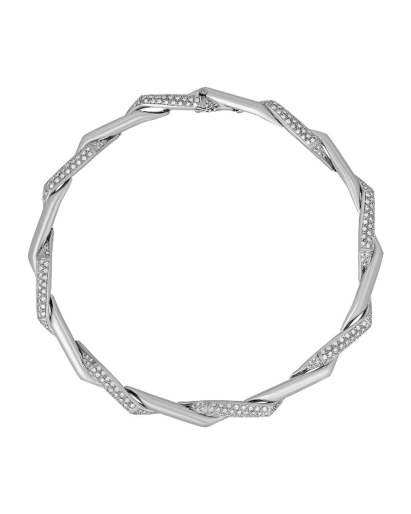Damiani 18K White Gold Twisted Diamond Necklace In Clear