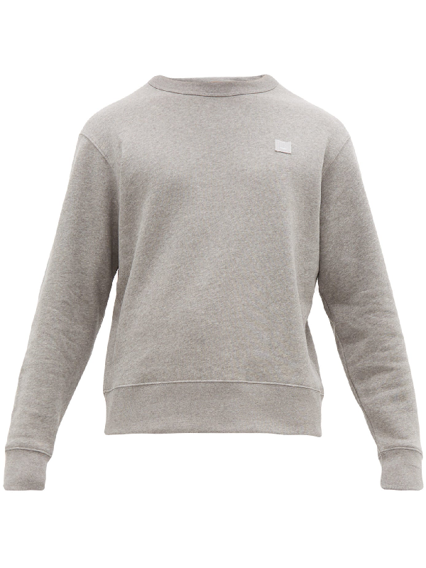 Acne Studios Oversized Logo-appliquÉd MÉlange Loopback Cotton-jersey Sweatshirt In Grey