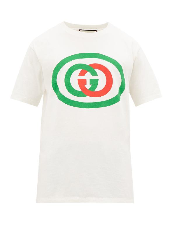 Gucci Interlocking-g Logo Oversize Cotton Graphic Tee In 9037 Bwhite