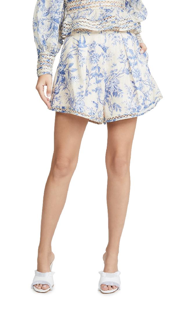 Zimmermann Verity Floral-Print High-Rise Cotton Shorts In Bluebird