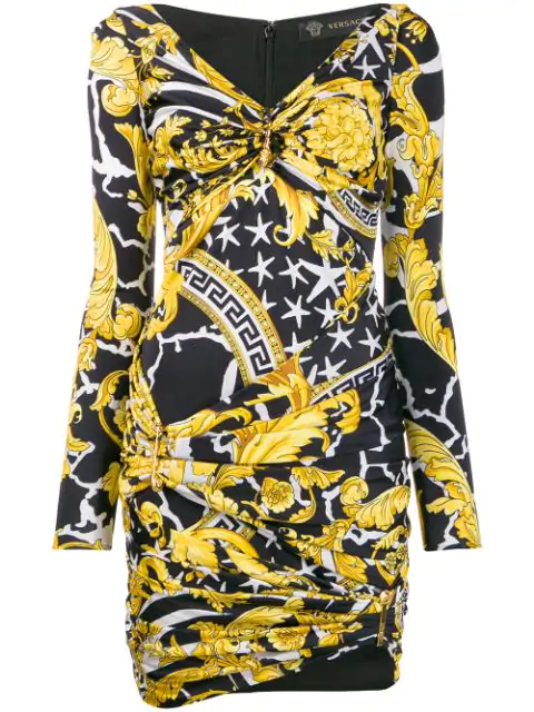 Versace Multicolor Women's Savage Barocco Print Dress In Yellow